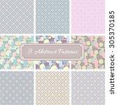 9 abstract vintage vector... | Shutterstock .eps vector #305370185