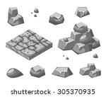 Stones And Rocks In Isometric...
