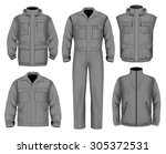 collection of men work clothes. ... | Shutterstock .eps vector #305372531