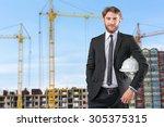 builder architect against the... | Shutterstock . vector #305375315