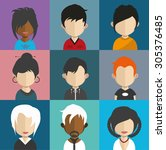 set of people icons in flat... | Shutterstock .eps vector #305376485