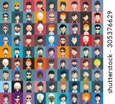 collection of avatars20   81... | Shutterstock .eps vector #305376629