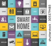 smart house technology system... | Shutterstock .eps vector #305379485