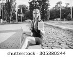 black and white. young woman...   Shutterstock . vector #305380244