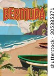 Bermuda Vintage Travel Poster.