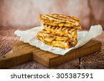 grilled cheese sandwich with... | Shutterstock . vector #305387591