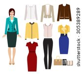business outfit. paper doll... | Shutterstock .eps vector #305389289