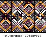 geometric ethnic pattern... | Shutterstock .eps vector #305389919