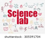 science concept  painted red... | Shutterstock . vector #305391704