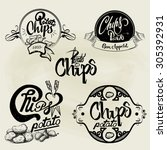 vector set of potato chips... | Shutterstock .eps vector #305392931