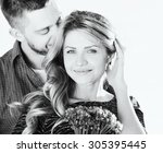stunning sensual young couple... | Shutterstock . vector #305395445
