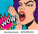 woman with wow sign. vector... | Shutterstock .eps vector #305398451