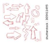 doodle sketch arrows set for... | Shutterstock .eps vector #305411495