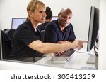 engineers using cad system in... | Shutterstock . vector #305413259