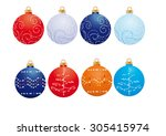 christmas balls with designs on ... | Shutterstock .eps vector #305415974