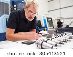 engineer planning project with... | Shutterstock . vector #305418521