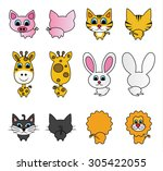 vector illustration of cute... | Shutterstock .eps vector #305422055