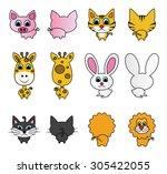 vector illustration of cute... | Shutterstock .eps vector #305422055