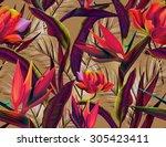 seamless tropical flower  plant ... | Shutterstock . vector #305423411