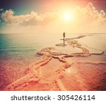 silhouette of young woman... | Shutterstock . vector #305426114