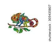 chameleon character | Shutterstock . vector #305435807