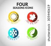 Four Seasons Icon Symbol Vecto...