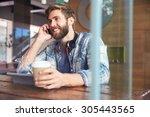 businessman on phone using...   Shutterstock . vector #305443565
