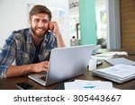 portrait of businessman working ... | Shutterstock . vector #305443667