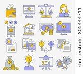 set of flat design icons for...   Shutterstock .eps vector #305444711