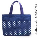 blue cotton bag on white... | Shutterstock . vector #305450789