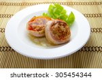 meat medallions wrapped bacon... | Shutterstock . vector #305454344