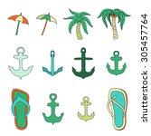 set of objects associated with... | Shutterstock . vector #305457764