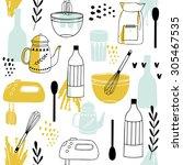 vintage kitchen set in vector... | Shutterstock .eps vector #305467535