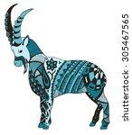 mountain goat  zentangle... | Shutterstock .eps vector #305467565