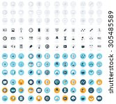 business flat design icons set... | Shutterstock .eps vector #305485589