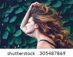 young woman against background... | Shutterstock . vector #305487869