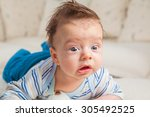 cute 2 months old baby boy at... | Shutterstock . vector #305492525