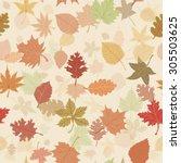 seamless autumn leafs pattern   Shutterstock .eps vector #305503625