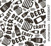 craft beer brewery seamless... | Shutterstock .eps vector #305508047