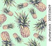 pineapples on a light green... | Shutterstock . vector #305510609