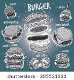 hand drawn monochrome vector... | Shutterstock .eps vector #305521331