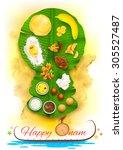 illustration of onam feast on... | Shutterstock .eps vector #305527487