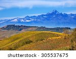 view of autumnal hills and... | Shutterstock . vector #305537675