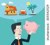 business man holds piggy bank... | Shutterstock .eps vector #305542529