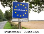 sign near the border of the...   Shutterstock . vector #305553221