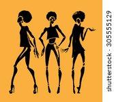 african women. hand drawn... | Shutterstock .eps vector #305555129