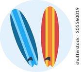 surfing boards   Shutterstock .eps vector #305560019