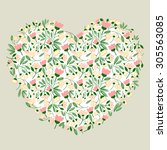 floral heart background for... | Shutterstock .eps vector #305563085