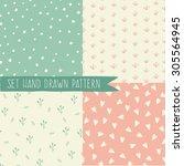 pastel retro vector seamless... | Shutterstock .eps vector #305564945