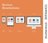 screen resolutions preview with ... | Shutterstock .eps vector #305566421